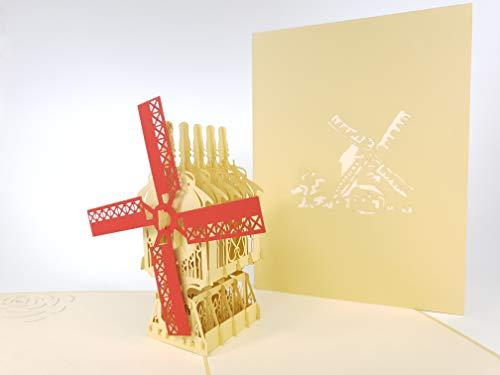 3D pop up Card Grote Hollandse Molen 2 Wenskaart, Kirigami Papier Ambacht Postkaarten