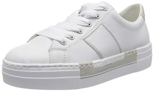 Rieker Damen Frühjahr/Sommer N4902 Sneaker, Weiß (Weiss/Fog-Silver/ 81 81), 36 EU