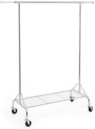 SONGMICS HSR02S Attaccapanni in Metallo Cromato con Ruote, Portata Fino a 50 kg, Lunghezza 110, 5-150, 5 cm