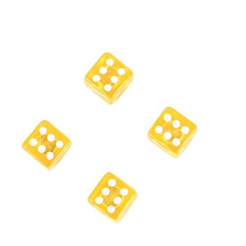 4 Stück PKW Ventil / AV – Autoventil / Schrader / Ventilkappen auch geeignet für Motorrad & Fahrrad Würfel Design Dice Las Vegas Style in gelb