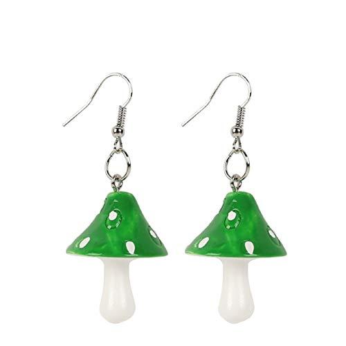 1 par de mujeres dulce fresco hecho a mano Simulación de plástico Simulación de hongos Pendiente colgante largo (Metal Color : Green)