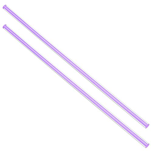 uxcell アクリル丸棒 PMMAバー ストレート ライトパープルライン ソリッド 6mmx250mm 2個入り