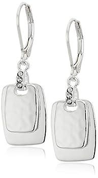NINE WEST Women s Silvertone Crystal Drop Earrings
