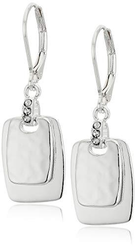 NINE WEST Women's Silvertone Crystal Drop Earrings