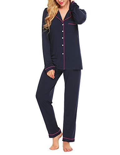 Lucyme Damen Pyjamas Set Elegant Modal Langarm Schlafanzug mit Knopfleiste Zweiteiliger Lang Nachtwäsche Sleepwear XS-XXL, Dunkelblau 337, EU 42(Herstellergröße: L)