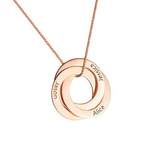 HooAMI 925 Silber Personalisierte Kette Namenskette Mit 3 Namen Russische Verwobene Runde Familienkette Mit Gravur Mit Box Rosegold