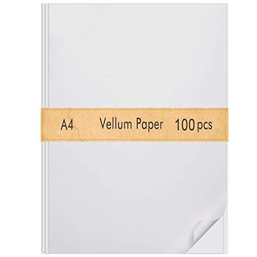 FEPITO 100 fogli di carta velina 8,5 x 11 pollici Carta da lucido traslucida Carta trasparente per schizzi Tracciatura Disegno Animazione