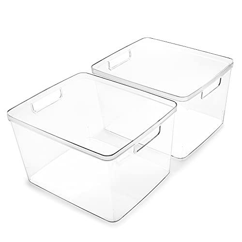BINO | Plastic Storage Bins, Large - 2 Pack | THE LUCID COLLECTION | Multi-Use Organizer Bins | Built-In Handles | BPA-Free | Pantry Organization | Home Organization | Fridge Organizer | Freezer Org