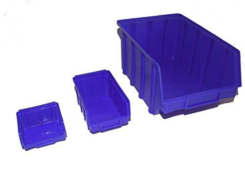 Sichtlagerboxen Stapelboxen Lagerboxen blau 30 Stück Gr. 1/20 Stück Gr. 2/10 Stück Gr. 3