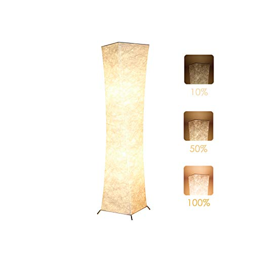 Floor Lamp, CHIPHY Dimmable Standing Lamps for Living Room, 3 Levels Brightness 12W2 LED Bulbs(2400 LM) and White Fabric Shade, Contemporary and Modern for Bedroom and Office