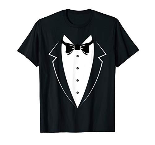Black and White Tuxedo Bow Tie Funny Costume Novelty T Shirt