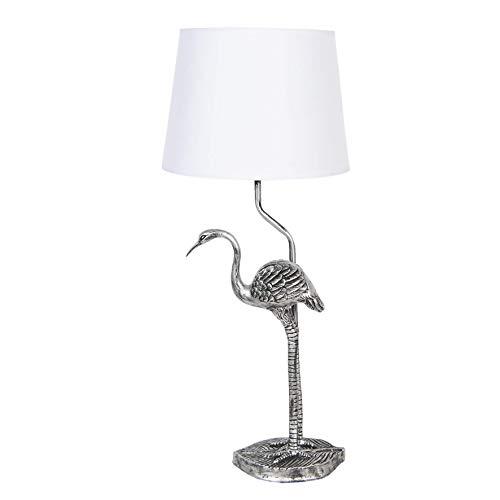 MAISONICA Lámpara de mesa de flamenco negro plateado y sombra blanca H58cm 60W