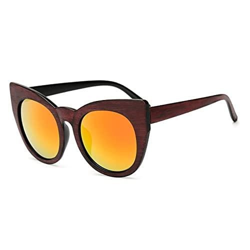 NIUBKLAS Gafas de sol redondas de madera de ojo de gato para hombre, gafas de sol retro para mujer, gafas cuadradas para hombre y mujer, espejo colorido JY18001C7