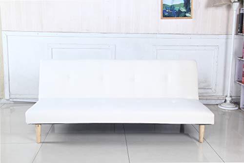 arredo Divano Letto Sofa Monos clic clac Tessuto Velluto Reclinabile 3 Posti (Bianco)
