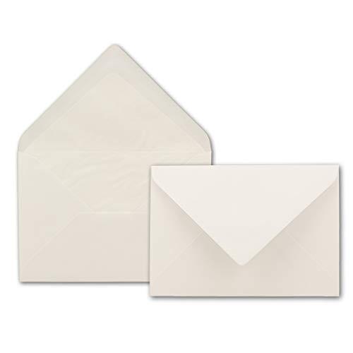 Briefumschläge DIN B6-125 x 176 mm - Altweiß mit weißem Seidenfutter - 50 Stück - EXTRA QUALITÄT - 100 g/m² - - Für ganz besondere Anlässe - Nassklebung - Marke: GUSTAV NEUSER