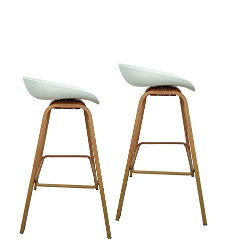 belyasa Barhocker 2er Set in weiß | Skandinavisches Design | 75 cm Buchenholzoptik | Stühle für Bartisch Hausbar Theke Retro Stuhl - ähnlich Eames IKEA Hocker Holz Küche (eisweiß)