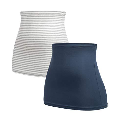 Herzmutter buikband voor zwangere vrouwen nierwarmer - Set van 2 – Zwangerschap - zwangerschaps buikbanden - shirt verlenging voor zwangerschap - Rugwarmer - Zwart-Wit-Grijs - 6300