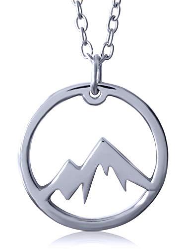 VIASOUL® Halskette Berge I Die Berge Kette für Damen aus 925er Silber I Mit 585er Gold überzogen I Die Original Mountain Love Kette (Weißgold)