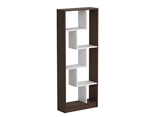 Homidea Campo Libreria - Scaffale per Libri - Scaffale per Ufficio/Soggiorno dal Design Moderno (Wengè/Bianco)