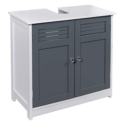 eSituro Meuble de Rangement en MDF SBP0047 Meuble sous lavabo de Salle de Bain,Gris+Blanc