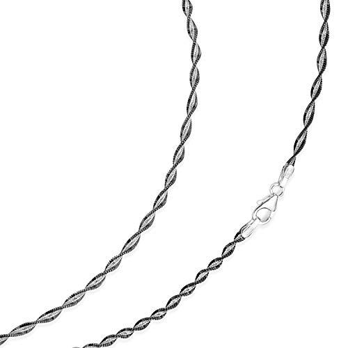 MATERIA Damen Halskette Singapurkette 55cm - 925 Silber Kette Collier schwarz rhodiniert in Schmuck-Etui K20-55