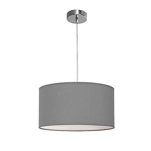 TODOLAMPARA - Lampara colgante de tela modelo Nicole color gris 2 bombillas E27 40cm diámetro altura regulable.