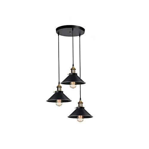 Lámpara de Techo Industrial Vintage Iluminación Colgante Industrial Negro Metal Pantallas, E27, Ø22CM, con Un Cable Ajustable 100CM para Comedores, Salas de Estar, Oficinas, Pasillos, Restaurantes