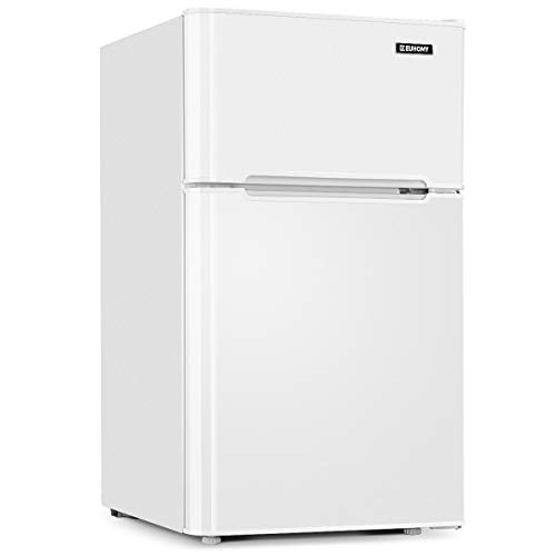 Euhomy Mini Fridge with Freezer, 3.2 Cu.Ft Compact Refrigerator with freezer, 2 Door Mini Fridge with freezer, Upright for Dorm, Bedroom, Office, Apartment- Food Storage or Drink Beer, White