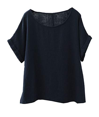 Soojun Women's Cotton Linen Round Collar Boxy Top Patchwork Blouses Navy, Large