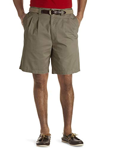 Harbor Bay by DXL Big and Tall Waist-Relaxer Pleated Twill Shorts, Olive 46 Reg