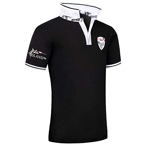 Nebulus Poloshirt Palms Herren, deep-Black - M
