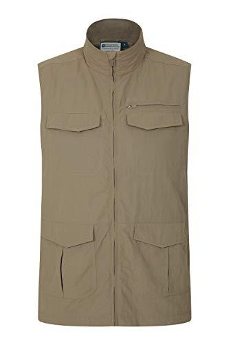 Mountain Warehouse Navigator Gilet für Herren - leichte, atmungsaktive Weste, Pflegeleichte Gilet-Jacke - ideal für Frühling, Reisen, Urlaub, Spaziergänge Dunkelbeige XL