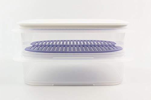 Tupperware Cool apilable 1,5L envase (2)+Cuadrícula púrpura+ Cubierta Blanco 35117