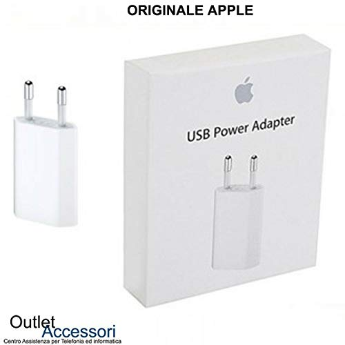 originale Caricatore Carica Batteria Alimentatore Presa USB Power Adapter A1400 5W Compatibile per iPhone 4 5 5s 5c 6 6s 7 8 Plus MD813ZM/A Confezione