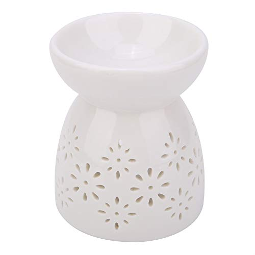 KSTE Brucia Candele, Night Fragrance Lamp Night Fragrance Lamp Delicate Vintage Ceramic Essence Bruciatore a NAFTA Brucia incenso Aromatherapy Stove (Fiore)