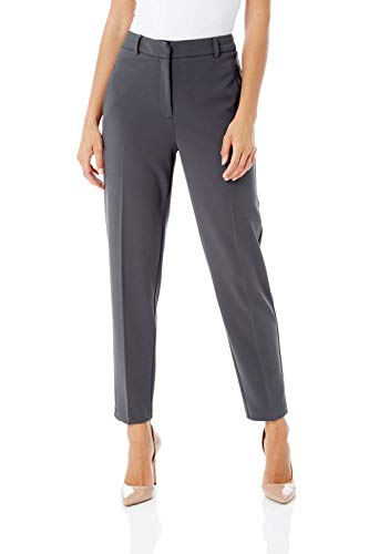Roman Originals Women Professional Suit Trousers Ladies Straight Tapered Pull On Stretch Work Office Interview Smart Formal Cigarette Pencil Tailored Classic Pants - Dark-Grey - Size 14