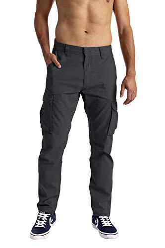 Pantalones cargo para hombre, 6 bolsillos, 100 % algodón, pantalones de trabajo sueltos gris oscuro...