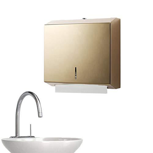 Ownlife Industries C-Falzung/Multifold Papierhandtuchspender, Edelstahl gebürstet Versatile Wand Badezimmer-Gewebe-Zufuhr Multifold Papiertücher (Color : Gold)
