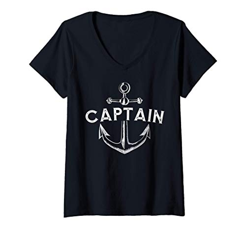 Mujer Ropa de capitán con un ancla de barco Camiseta Cuello V