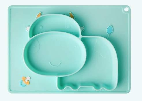 Kidoo - Plato Infantil de Silicona - Vajilla de Bebé Antideslizante | 100% Libre de BPA - Aprobado por la FDA - Base Adherente - Apto para Lavavajillas y Microondas - No Tóxico (Verde, Vaca)