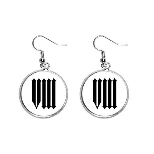 Romeinse cijfers Acht In Zwart silhouet Oor Dangle Zilver Drop Oorbel Sieraden Vrouw