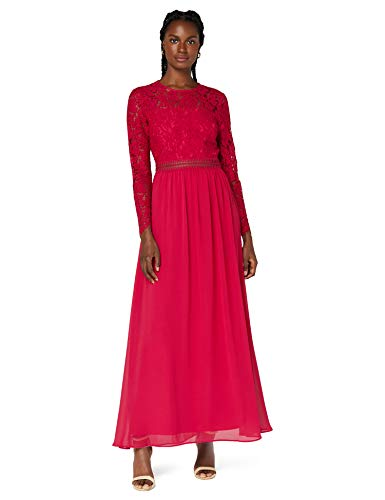 Amazon-Marke: TRUTH & FABLE Damen Maxi A-Linien-Kleid aus Spitze, Pink (Fuchsienrosa), 32, Label:XXS