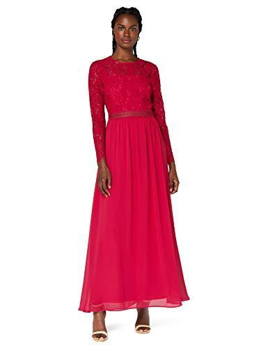 Amazon-Marke: TRUTH & FABLE Damen Maxi A-Linien-Kleid aus Spitze, Pink (Fuchsienrosa), 36, Label:S