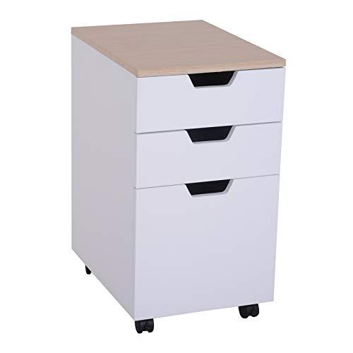HOMCOM Rollcontainer, Aktenschrank, Bürocontainer mit 3 Schubladen, Büroschrank, Aufbewahrung, Container,4 Universalräder, Spanplatte, Weiß+Natur, 34 x 40 x 60,5 cm