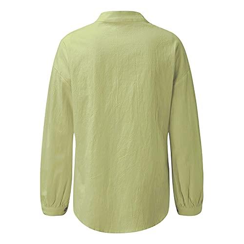 FOTBIMK Camisa de lino de algodón para mujer, cuello alto, botón de la cárdigan superior, túnica de color sólido casual, verde, M