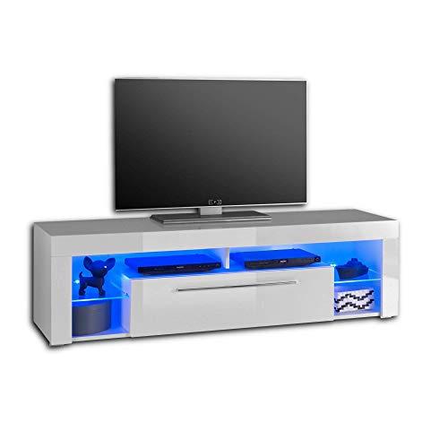 GOAL TV-Lowboard in Hochglanz Weiß mit blauer LED-Beleuchtung - hochwertiges TV-Board mit viel Stauraum für Ihr Wohnzimmer - 153 x 44 x 44 cm (B/H/T)