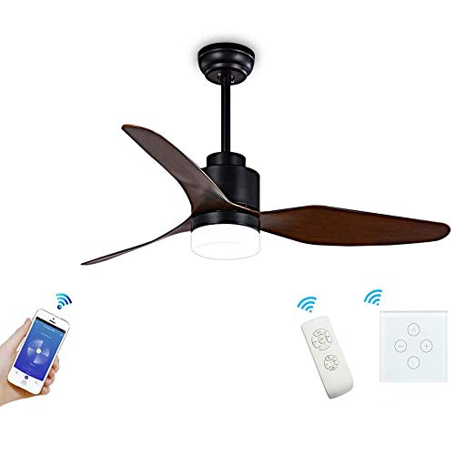 NA ZGGYA Fan Light WiFi Modern Propeller 3 Blade Ceiling Fan With LED Light Kit APP/Voice/Touch Control Compatible With Alexa And Google Home [Energy Class A+]