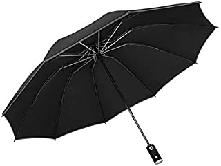 Paraguas automático Paraguas de negocios inverso con tiras reflectantes Paraguas Lluvia Mujeres Parasol masculino a prueba...
