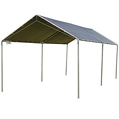 Outsunny 10' x 20' Heavy Duty Carport Awning Canopy with Included Anchor Kit & Weather-Resistant PE Roof, Grey