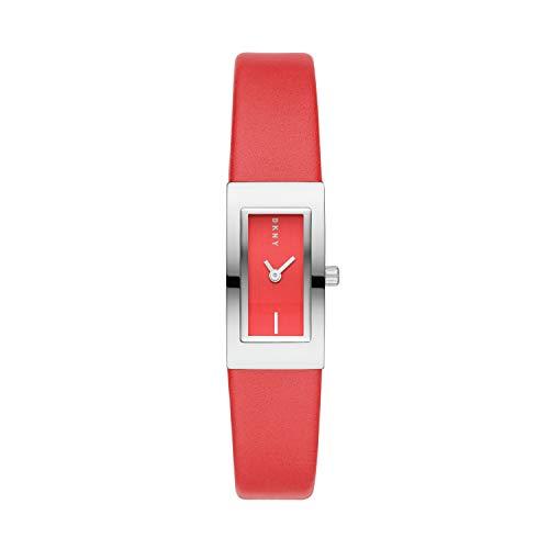 DKNY Downtown Reloj de cuarzo para mujer, acero inoxidable, correa de poliuretano, rojo, 16 (modelo: NY2880)
